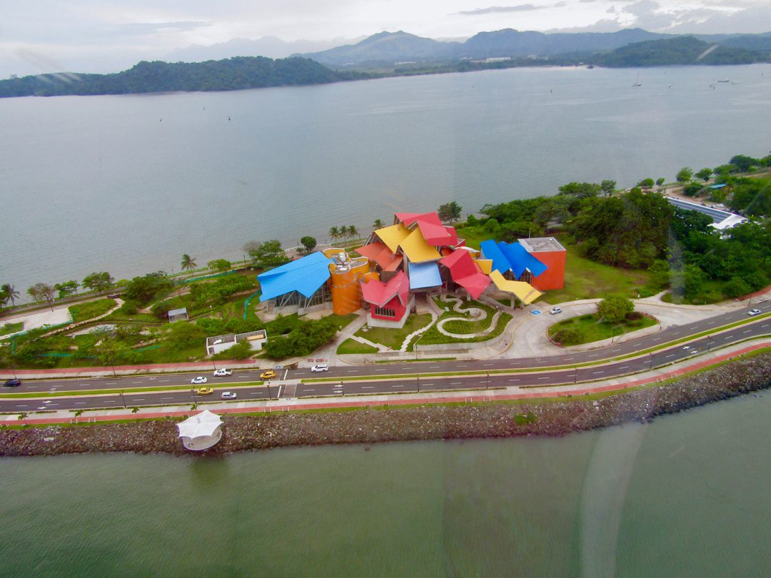 The brightly-colored Biodiversity Museum in Panama City.