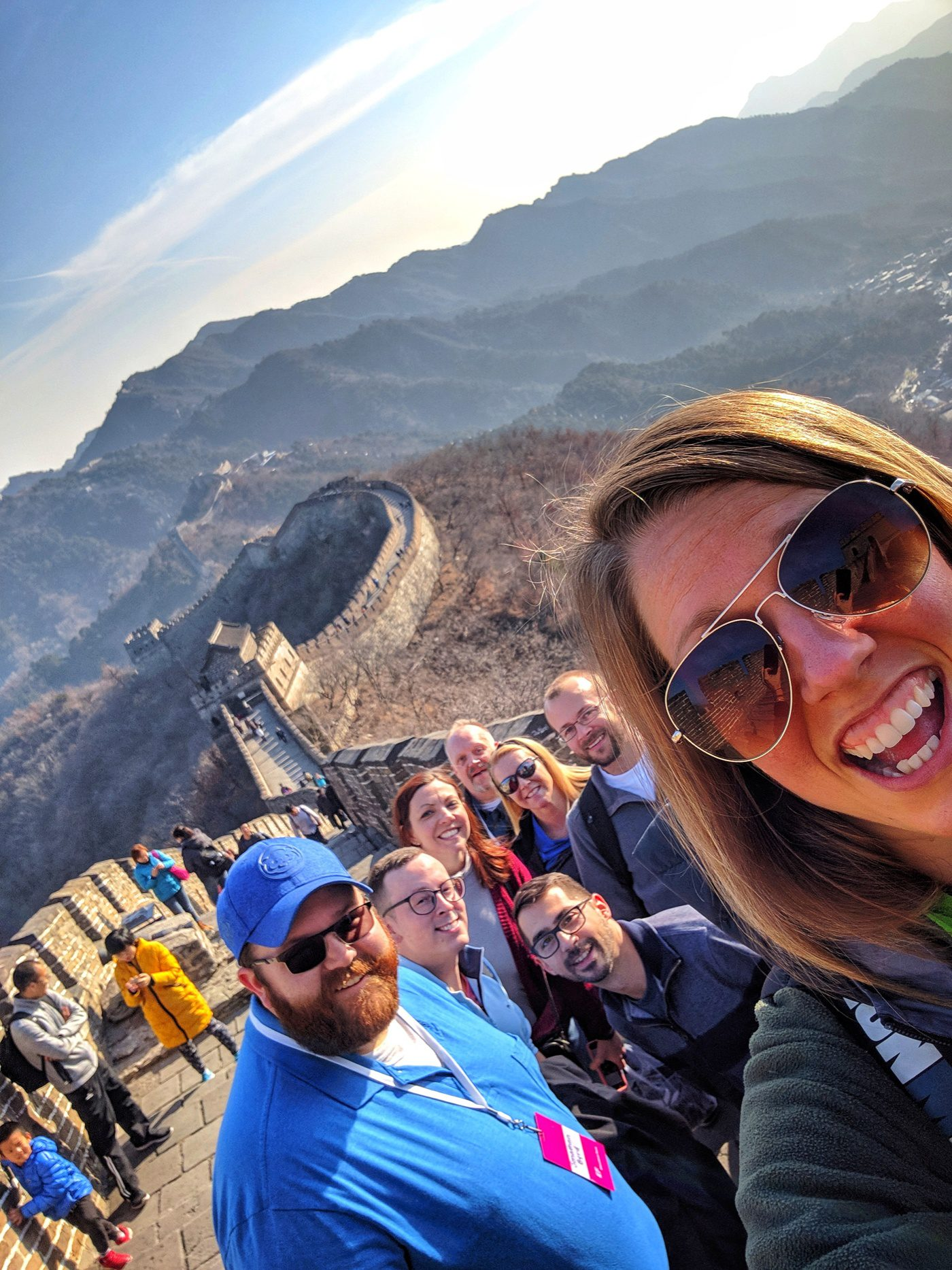 With other teachers in Beijing at the Great Wall of China.