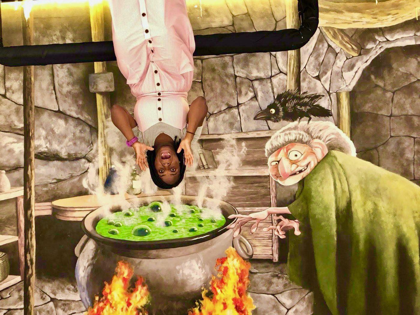 Witch cauldron upside down house