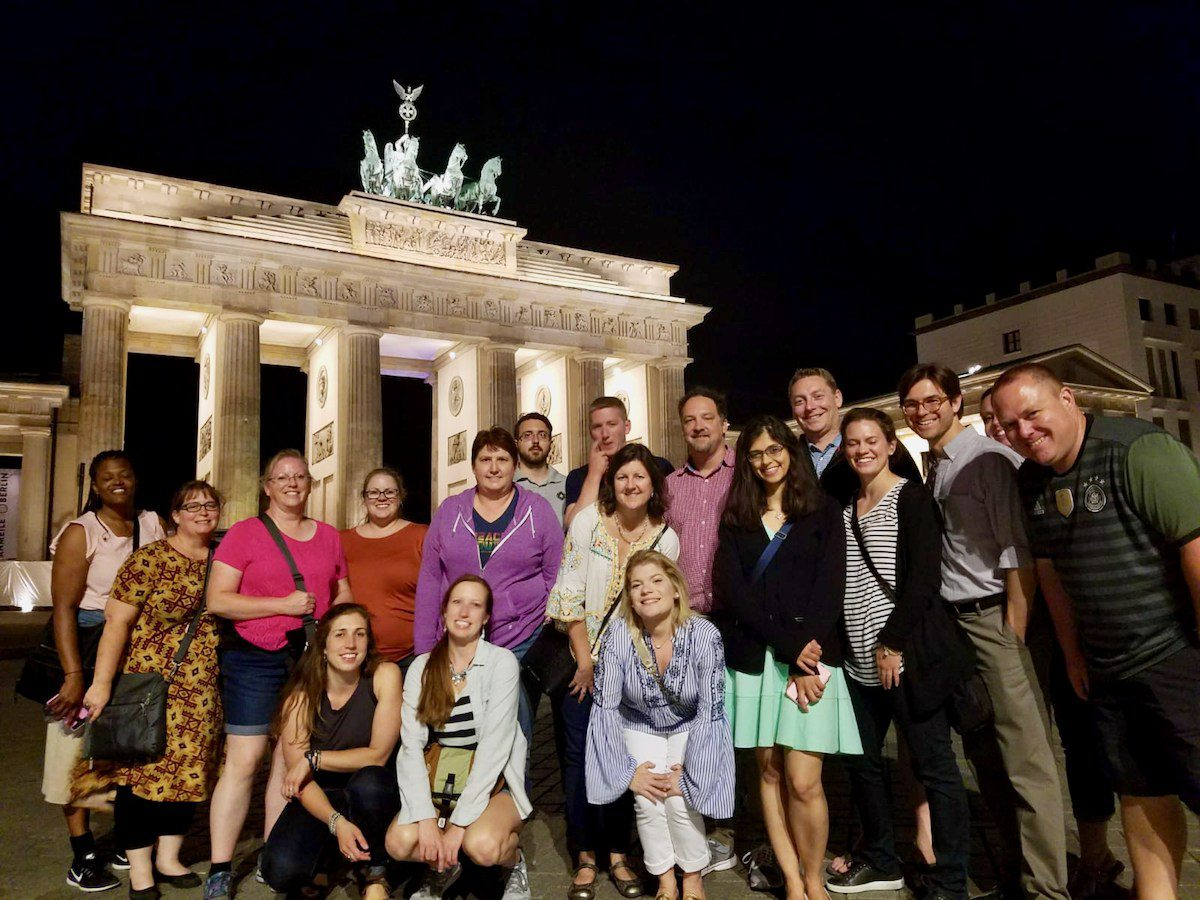 Members of TOP Groups 2 and 3 2018 at the conclusion of the midnight walking tour of Berlin.