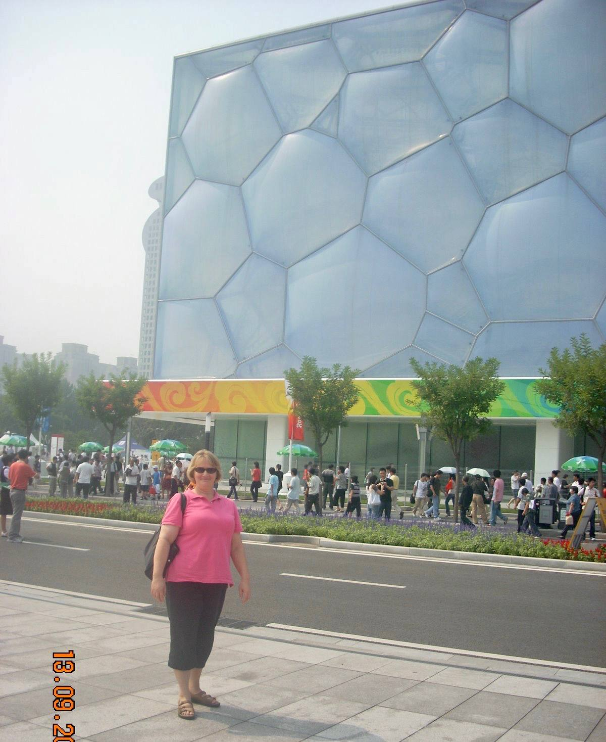 Lesley outside the Water Cube.