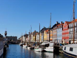 Iconic Nyhavn in Copenhagen, Denmark.