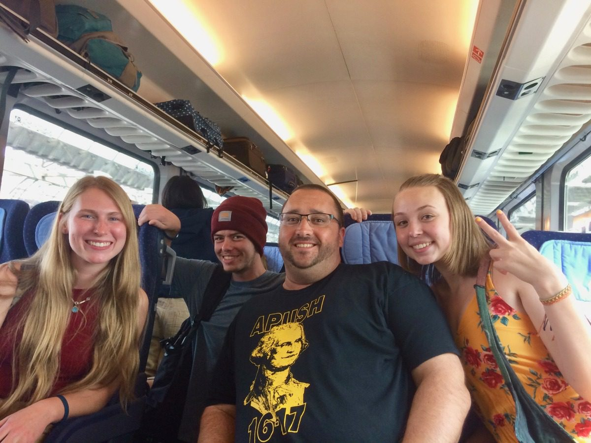 With former AP US History students on a train between Amsterdam and Berlin.
