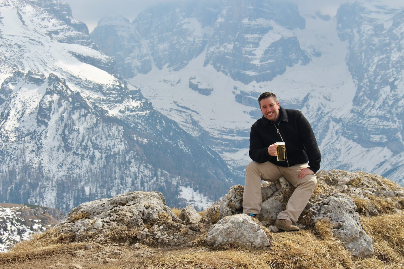 Relaxing in the Dolomites in the Italian Alps.