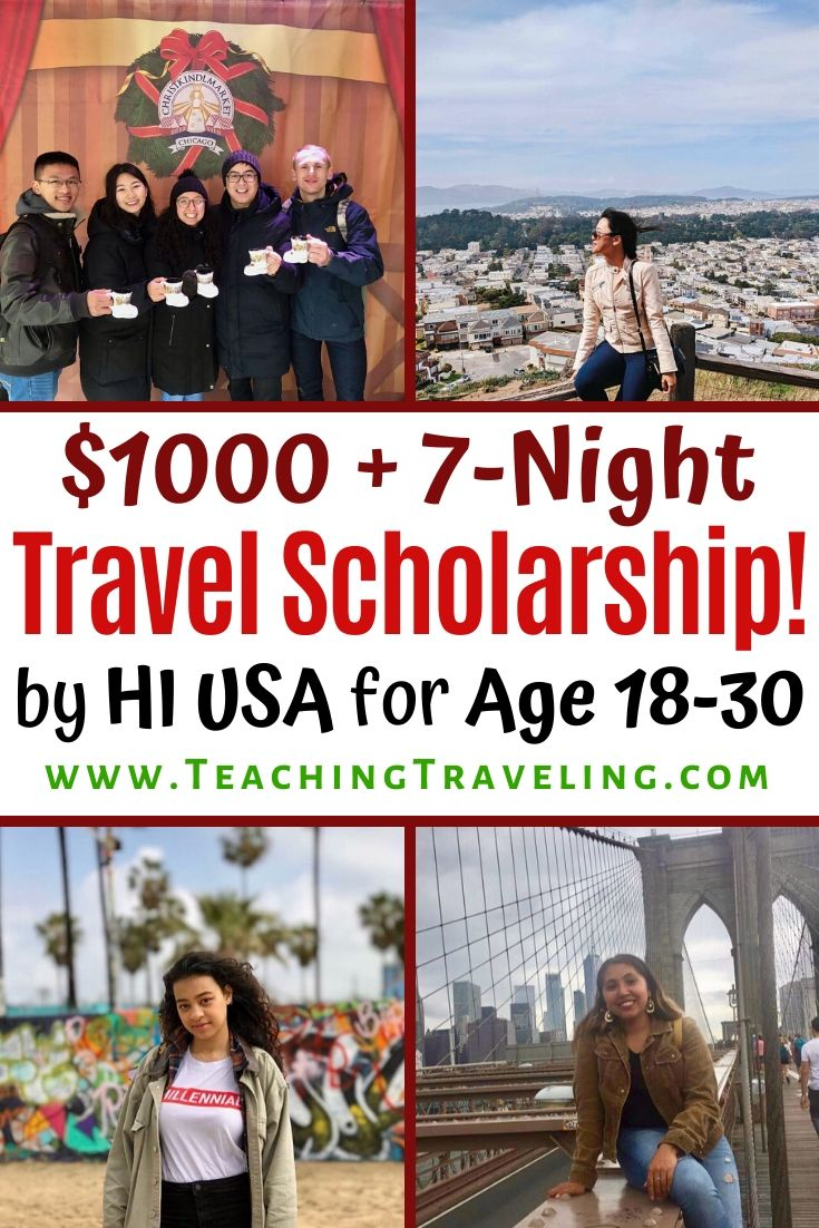 Youth travel scholarship to explore America from HIUSA for ages 18-30 new travelers!