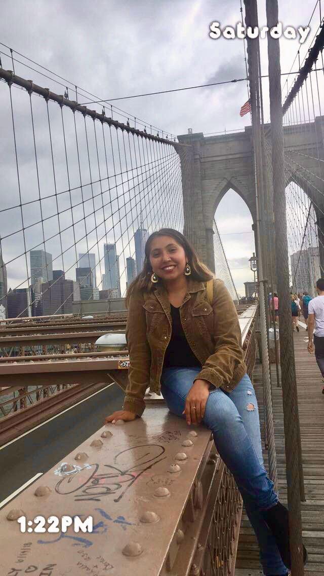 Scholarship winner Lizvett on her trip from San Francisco to NYC.