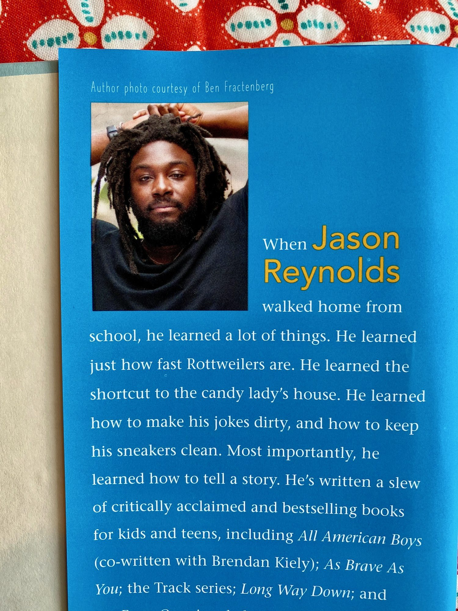 Author Jason Reynolds on the inside flap of Look Both Ways