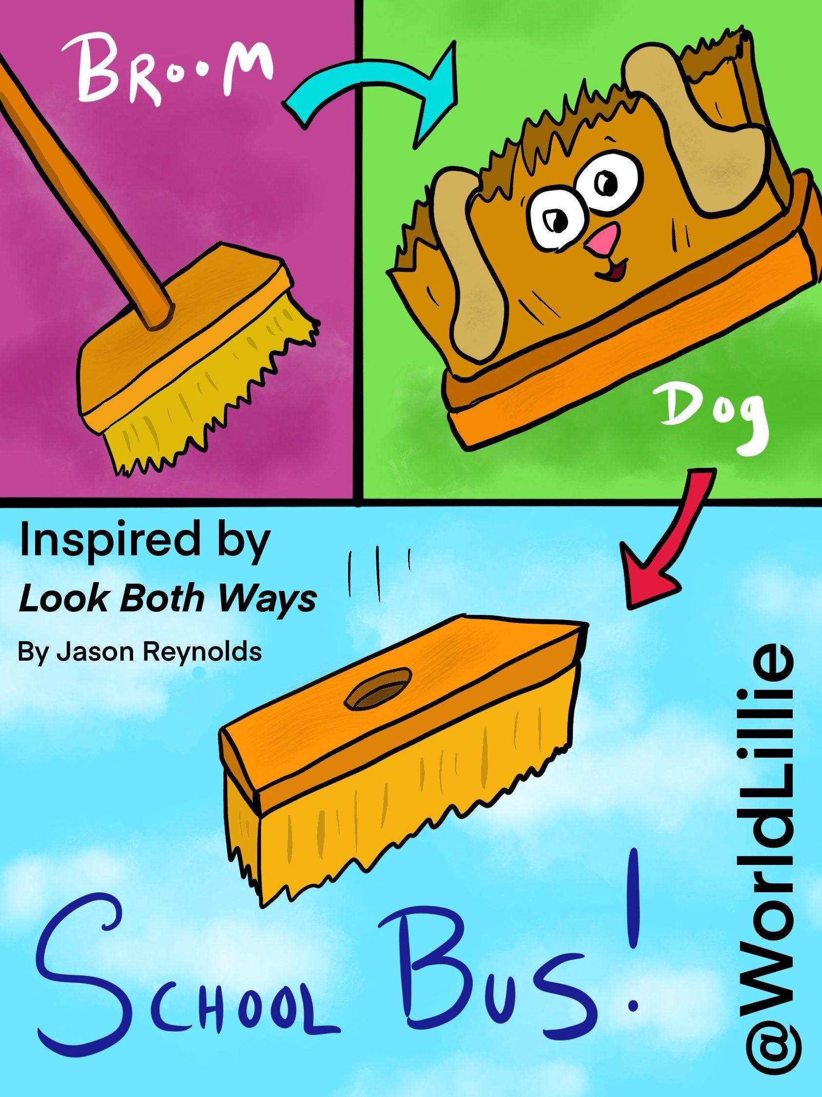 Look Both Ways by Jason Reynolds: School bus that fell from the sky cartoon.