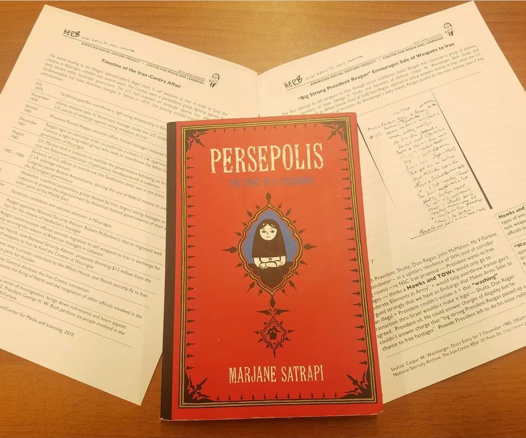 Stephanie connects reading Persepolis (which takes place in Iran) to foreign relations between Iran and the US. In this activity, kids were learning about the Contra Affair.